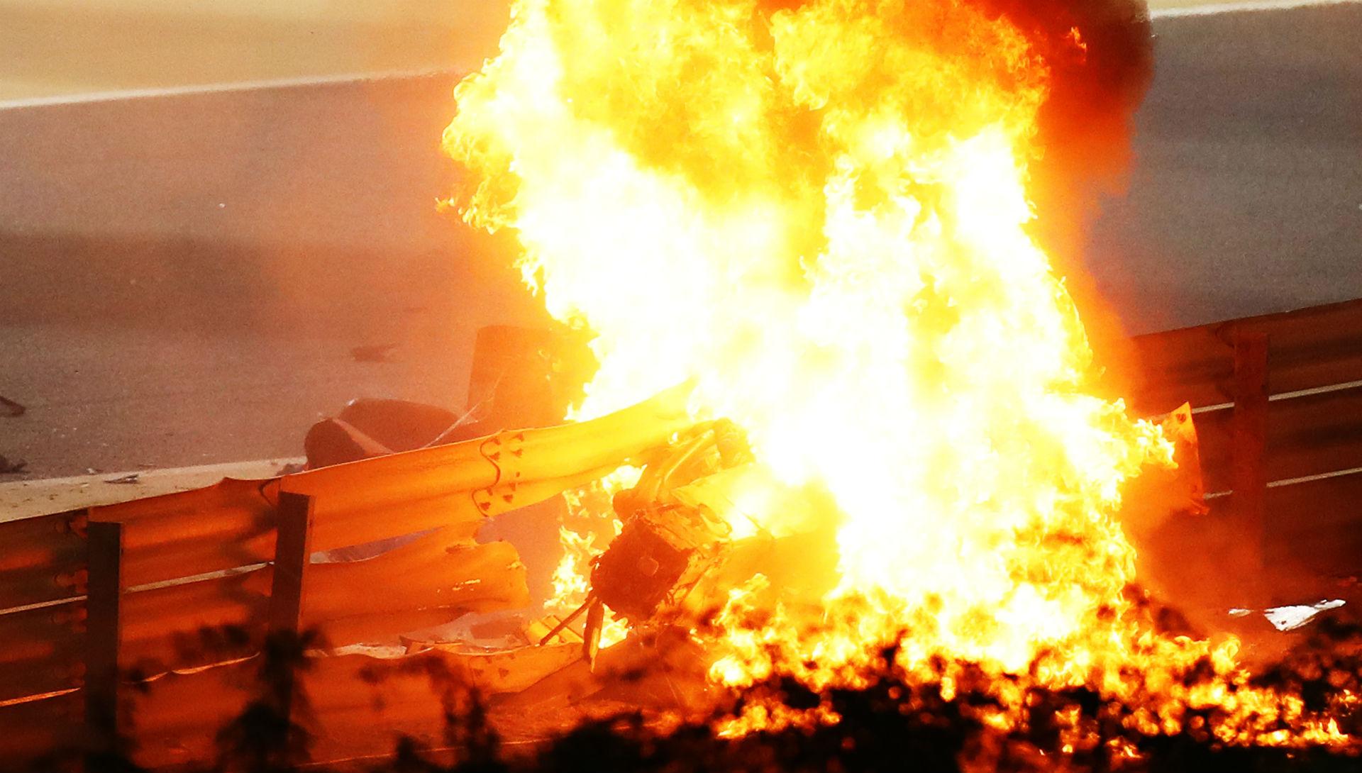 F1 driver Romain Grosjean miraculously escapes fiery crash at Bahrain Grand Prix